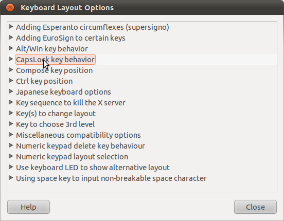 A screenshot of the keyboard layout options dialog in Gnome