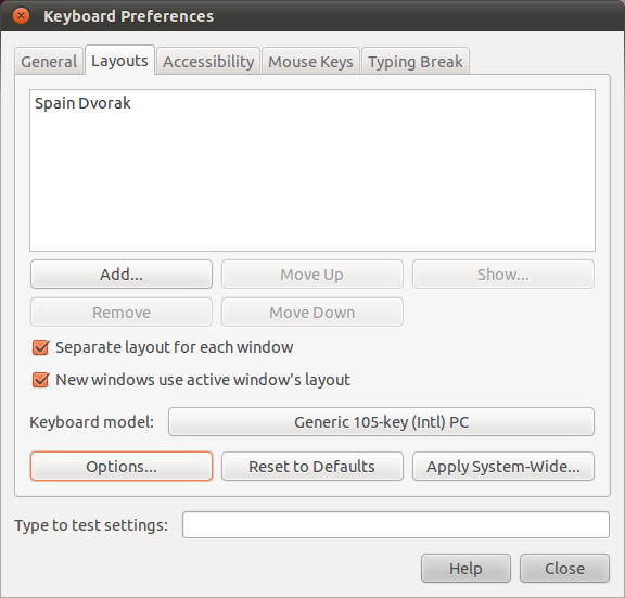 A screenshot showing the keyboard settings dialog of Gnome