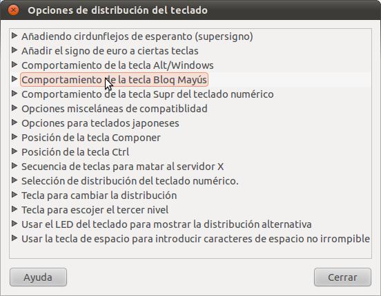 Una captura de pantalla de el cuadro de diálogo de opciones de distribución del teclado en Gnome
