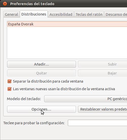 Una captura de pantalla de el diálogo de preferencias del teclado en Gnome