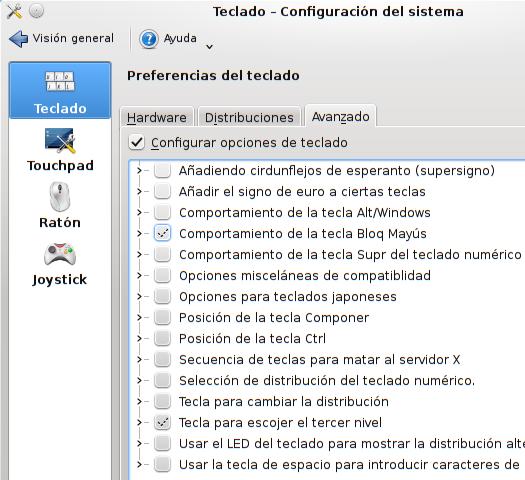 Una captura de pantalla de el díalogo de preferencias avanzadas del teclado en KDE